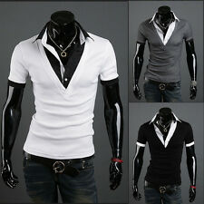 Mens Stylish Casual Slim Fit Short Sleeve Collared Polo T-Shirts Summer Tee Tops