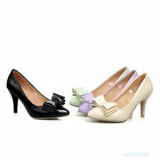 Womens Ladies Bowknot Pumps Classic High Heel Court Shoes OL Causal AU Size Z514