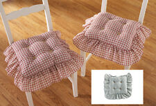 Set Of Two Country Plaid Check Ruffled Kitchen Chair Cushion Pad Blue Decor