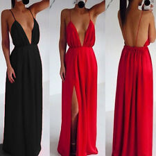 Womens Sexy Deep Plunge Evening Party Backless Maxi Boutique Prom Dress Size8-18