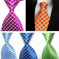 New Classic 100% Silk JACQUARD WOVEN Checks Men's Tie Necktie Blue Green Red FR