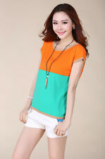 New Women Casual summer fashion Cotton short Sleeve tops shirts blouse