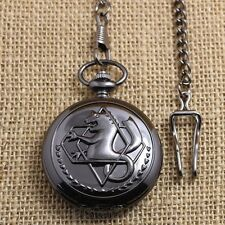 Vintage Retro Fullmetal Alchemist Quartz Pocket Watch Necklace Fob Chain Gift
