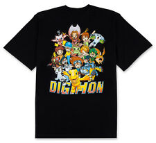 Digimon Adventure Character Collage Mens Black T-Shirt