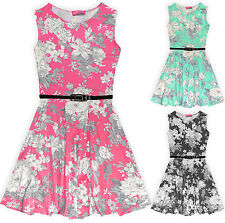 Girls Floral Skater Dress Kids Summer Belted Sun Dresses New Age 7-13 Years