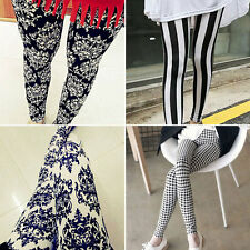 Hot! Casual Women Simple Leggings Stretchy Pencil Black White Procelain