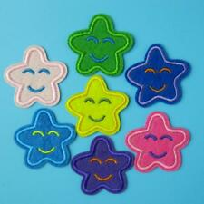 2 Patch Smile Face Star Iron on Sew Patch Cute Applique Badge Embroidered Baby.