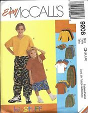 9206 Vintage McCalls Sewing Pattern Boys Shirt T Shirt Pants Shorts Hat EASY OOP