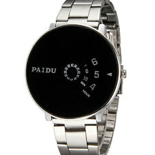 New PAIDU Mens Wrist Watch Stainless Steel Black/White Quartz Turntable Dial