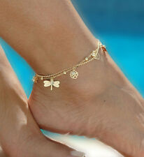 Chic Gold Double Chain Anklet Bracelet Ankle Foot Jewelry Barefoot Beach Anklet