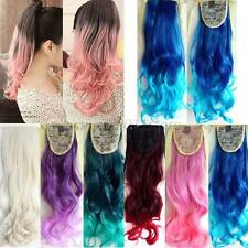 Women Girls Full Head Clip in Long Synthetic Hair Extensions Curly Wavy Hair New