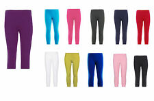 Girls 3/4 Length Cropped Leggings Plain New Dance Stretch Child Teens 2-13 Years