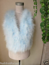 /Free shipping/real ostrich feather fur vest/jacket/S-M-L/light blue