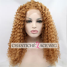 Best Blonde Kinky Curly Synthetic Hair Glueless Lace Front Wig Heat Resistant
