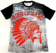 HUSTLE GANG Sublimation T-shirt Indian Chief Urban 2sided Tee Adult S-XL New