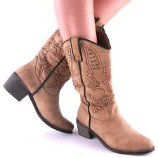 New Womens Tan Studded Embroidered Classic Cowgirl Boots