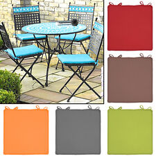 "4 Outdoor Chair Pads 15""x15"" w/ Ties Weather-Resistant Seat Cushion Patio Lawn"