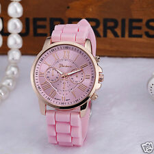 Fashion Geneva Women Men's Stainless Steel Silicone Quartz Analog Wrist Watches