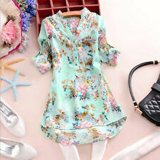 Europe Style Women V Neck Button Floral Chiffon Top Long Sleeve Blouse Tee Shirt