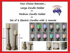 8 x Electric Candles / Vintage Look Candle Holders Ornate Candlestick Decorative