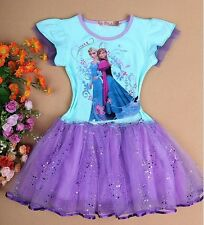 Disney Frozen Princess Elsa & Anna Tutu Dress Skirt Kids Girls Mesh Costume