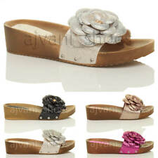 WOMENS LADIES MID HEEL WEDGE GLITTER FLOWER FOOTBED SLIP ON MULES SANDALS SIZE