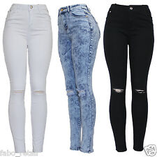 New Ladies High Waist Stretch Skinny Fit Ripped Knee White Blue Black Denim Jean