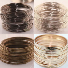 100/500 Loop Silver/Gold Plated Memory Steel Wire Cuff Bangle Bracelet 0.6x60mm
