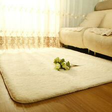 Soft Anti skid Carpet Dining Bedroom Flokati Shaggy Ivory Square Floor Mat Rug