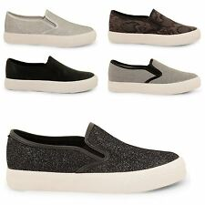 LADIES WOMENS DOLCIS FLAT SLIP ON PLIMSOLLS PUMPS SKATER SHOES TRAINERS SIZE