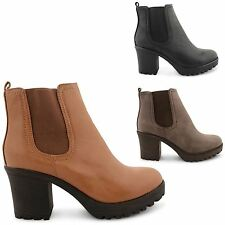 WOMENS NEW BLOCK CHUNKY HEEL LADIES CHELSEA PLATFORM ANKLE SHOES BOOTS SIZE 3-8