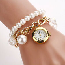 2015 New Faux Pearl Rhinestone Watches Quartz Analog Bracelet Dress Wrist Watch