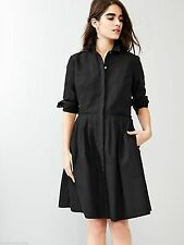 NWT $69 GAP Black Cotton Blend Shirt Waist Dress Pleated Skirt PXS   XS Petite