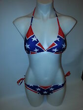Rebel Padded Confederate Flag Bikini String Top and Bottom - New - Mix Sizes