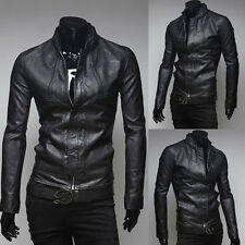 New Winter Fashion Men Slim Motorcycle Biker PU Leather Jacket Coat Black
