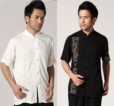 Chinese style Men's traditional cotton Dragon Kung FU shirt tops Sz: M L XL XXL