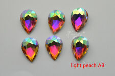 100 PCS 10mm x 14mm Glass Color AB Faceted Glass Tear Drop Jewels