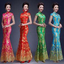 Chinese Mermaid Cheongsam Evening Prom Dress Wedding Long Gown Embroidery M357D