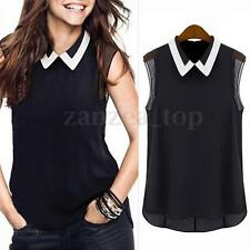 Women Summer Loose Casual Chiffon Sleeveless Vest T Shirt Tops Blouse Tank S-3XL