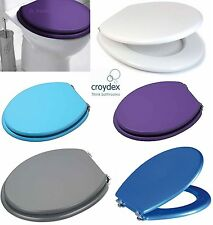 MDF COLOURED WOODEN TOILET SEAT WITH FITTINGS ADJUSTABLE CHROME HINGES BATHROOM