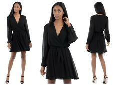 WOMENS LADIES  SHORT LONG SLEEVE CASUAL PARTY FORMAL WRAP SKATER  BLACK DRESS H1