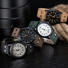 Vintage Classic Men's Waterproof Date Leather Strap Sport Quartz Army Watch
