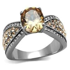 Stainless Steel Orange Champagne Topaz Oval cz Pave Wedding  cocktail RING