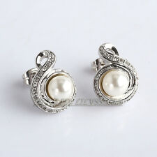 Rhinestone White Pearl Stud Earrings 18KGP Crystal