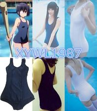 SUKUMIZU Sexy Cosplay Japanese School Swimsuit Swimwear Sweardress Blue White