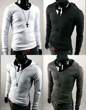 New Casual Slim Fit Mens Sexy V-Neck Long Sleeve Sweatshirt Hooded T-shirts Tops