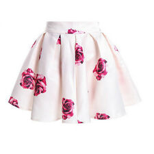 Fashion Women Flower Stretch High Waist Plain Skater Flared Pleated Skirt Dress