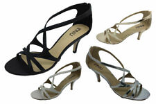 Ladies Shoes Inniu Amber Black White Gold or Silver Strappy Heels Sandals 5-10