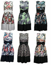 womens ladies bow detail skater dress floral print swing flared stripe size 8-14
