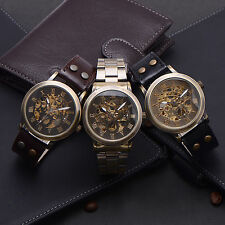 Vintage Leather Stainless Wristwatch Skeleton Automatic Mechanical Watch Gift